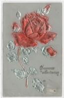 CPA Gaufrée Rose Rouge Et Argent     (72289) - Fantaisies