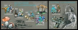 CENTRAL AFRICA 2014 - Scouting & Mushrooms, M/S + S/S Official Issue - Padvinderij