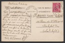 DF / FRANCE SUR CPA DE BORDEAUX / TP 416 TYPE MERCURE / OBL BORDEAUX GARE ST JEAN / FLAMME FOIRE DE BORDEAUX - Cartas