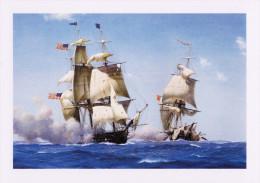Maritime Art Postcard Warship USS Constitution Off Java Sail Ship Derek Gardner - Guerra
