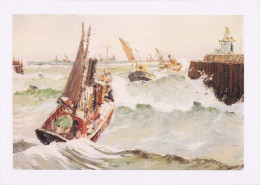 Maritime Art Postcard Steam Drifters Heading Out Rough Sea Rowland Fisher Boat - Fishing Boats