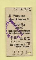 Pappfahrkarte Deutsche Reichsbahn --> Bad Schandau - Sebnitz - (Personenzug ) von 1973
