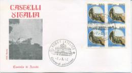 ITALIA - FDC  ROMA 1992 -  CASTELLO DI ARECHI A SALERNO - QUARTINA - 6. 1946-.. Repubblica