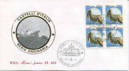ITALIA - FDC  ROMA LUXOR 1992 -  CASTELLO DI ARECHI A SALERNO - QUARTINA - 6. 1946-.. Repubblica