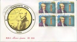 ITALIA - FDC  ROMA LUXOR 1992 -  ALESSANDRO VOLTA - RADIO - QUARTINA - 6. 1946-.. Repubblica
