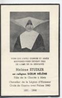 57  -  METZ  - Souvenir  - SOEUR HELENE  De La Charité - Chevalier Legion Honneur - Croix Guerre Avec Palme -1940 - Obituary Notices