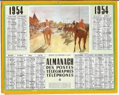 Calendrier 1954, Almanach des PTT,postes, devant les tribunes,26,5 x 21 cm Departement 13.