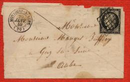 CERES 3 , Pli de  MONTIGNY SUR AUBE  en date du 20 JANVIER 1849 pour GIEZ ( Gi� , perte du Z sur SCAN cad au verso)