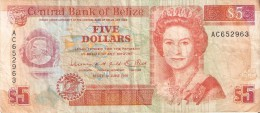 BILLETE DE BELIZE DE 5 DOLLARS  DEL AÑO 1991   (BANKNOTE) - Belice
