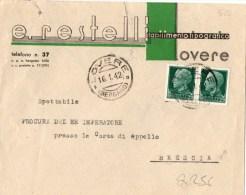 BUSTA POSTALE PUBBLICITARIA-LOVERE-(BER GAMO)-DITTA RESTELLI -STABILIMENTO TIPOGRAFICO-16-1-1942-REG NO CENT.25 X 2 - 6. 1946-.. República
