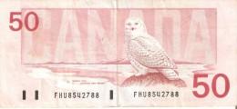 BILLETE DE CANADA DE 50 DOLLARS DEL AÑO 1988  (BANKNOTE) BUHO-OWL-CHOUETTE - Canada