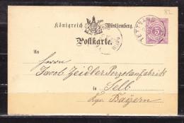 P 22 Ziffer, Tettnang Nach Selb 1882 (60399) - Wuerttemberg