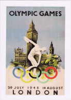 Travel Poster Art Postcard Olympic Games London 1948 House Of Parliament Big Ben - Publicité