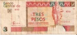 BILLETE DE CUBA DE 3 PESOS CONVERTIBLES DEL A�O 2007  (BANKNOTE)