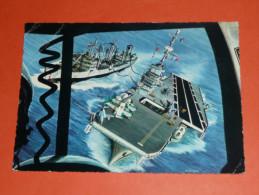 CPM Dentelée, Carte Postale Illustrée, Bateau, Militaria, FRANCE Porte-avions CLEMENCEAU Clémenceau, Aircraft Carrier - Guerra