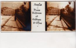 PHOTO STEREO SUR PLAQUE DE VERRE  NAPLES NAPOLI PLACE VICTORIA ET CHATEAU ST ELME - Glass Slides