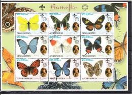 Afghanistan 2001 Vlinders, Butterflies, Scouting 4) 9 X 20.000 Afg - Afghanistan
