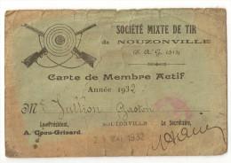 CARTE MEMBRE ACTIF NOUZONVILLE 08 ARDENNES SOCIETE MIXTE DE TIR - Cartes