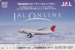 Carte Prépayée Japon - AVION - BOEING JAL - JTB - Airplane Airline Japan Prepaid Card - Flugzeug Quo Karte  Aviation 566 - Airplanes