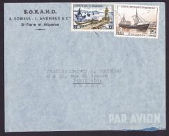 1957   Lettre Avion Pour La France   Chalutier «Le Galantry» Fides Et Bateaux De Pêche 10 Fr  Yv 352, 357 - St.Pierre Et Miquelon