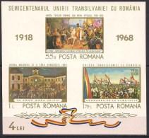 1968 Romania Roumanie -  50 Years Transylvania Unity,Prince Michael The Brave,Horses,Flags,imp. Mi. B68 MNH - Storia