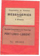 SOCIETE COOPERATIVE DE VEDETTES PORT LOUIS LORIENT MESSAGERIES LOT DE 2 BILLETS