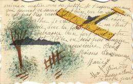 81008 - Fantaisie   Carte Decoupée     Avec Dessin D'un Avion - Fantaisies