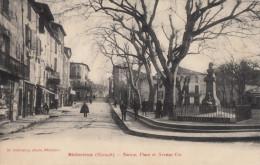 CPA - Bédarieux - Statue - Place Et Avenue Cot - Bedarieux