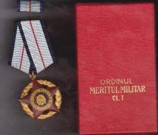 "Romania ""Military Merit Order 1st Class, RSR"" - Roumanie ""Ordre du M�rite militaire classe 1, RSR"" - with box"