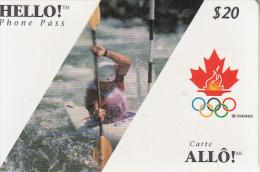 CANADA - Canadian Olympic Team/Canoe, Hello Prepaid Card $20, 02/96, Used - Juegos Olímpicos