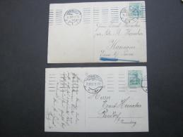 1910/11, HAMBURG , 2 Verschiedene Maschinenstempel Auf 2 Karten - Duitsland