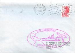 BATEAU AVISO E.V. JACOUBET MISSION Z.M.A.G.     POSTE AUX ARMEES 7/11/89 - Marcophilie (Lettres)