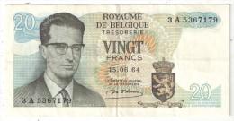 BELGIQUE - BELGIE - 20 Francs - 20 Frank - 1964 - [ 2] 1831-... : Royaume De Belgique