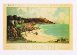 Railway Poster Art Postcard GWR Falmouth Beach Bay Boat Louis Burleigh Bruhl 1927 - Advertising