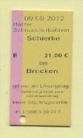 Pappfahrkarte HSB Brockenbahn -   Schierke  - Brocken