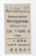 Pappfahrkarte - Deutsche Reichsbahn - Strecke heutige HSB -->  Wernigerode Westerntor - Wernigerode von 1989
