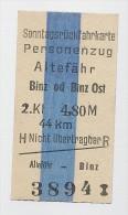 Pappfahrkarte - Deutsche Reichsbahn --->  Altef�hr - Binz