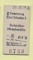 Pappfahrkarte - Deutsche Reichsbahn --->  Bad Schandau - Schmilka-Hirschm�hle von 1973