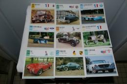 Emsemble de 310 fiches sur les voiture de collection