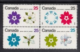 Canada MH Scott #511a Block Of 4 EXPO 70 Japan - Expo Emblems, Flowers - Dogwood, White Garden Lily, White Trillium - 1970 – Osaka (Japon)