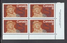 Canada MNH Scott #561 Lower Right Plate Block 8c Frontenac - Lower Right Stamp Is Missing Part Of '9' In '1698' - Variétés Et Curiosités