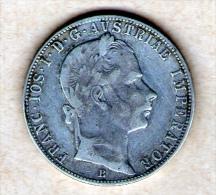 AUSTRIA 1 FLORIN FRANZ JOSEPH I 1858 B SILVER COIN - Austria