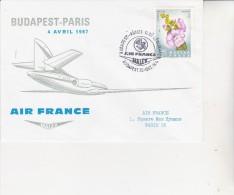 PREMIER VOL AIR FRANCE BUDAPEST -PARIS  4 AVRIL 1967 - TB - Hungary
