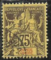 GRANDE GRANDI COMORE FRANÇAISE GRAND COMORO 1897 1907 PAIX NAVIGATION AND COMMERCE CENT. 75 USED USATO OBLITERE' - Grande Comore (1897-1912)