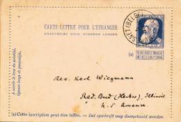 868/22 - Carte-Lettre Grosse Barbe MORESNET Belge 1905 Vers USA - Kartenbriefe