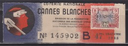 = Loterie Nationale 1948 Cannes Blanches 47ème Tranche - Lotterielose