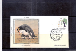 FDC Soie AAT - Royal Penguin (to See) - Pingouins & Manchots