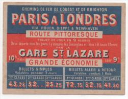 CALENDRIER 1896 -PARIS A LONDRES - GARE ST LAZARE  - CHEMINS DE FER DE L�OUEST ET DE BRIGHTON