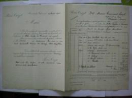 ROMANECHE-THORINS PIERRE CROZET ALCOOLS ET VINS FACTURE ET COURRIER DU 15 FEVRIER 1900 - Fatture