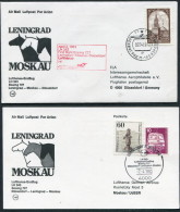 1983 Russia Germany Leningrad - Moscow - Dusseldorf First Flight Erstflug Lufthansa Covers (3) - Covers & Documents